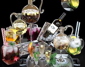 Set of cocktails 3D