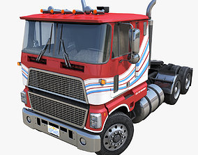 American generic cabover semitruck 3D asset low-poly