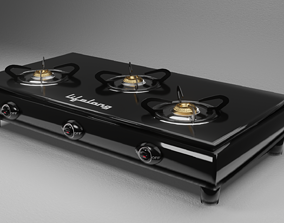 Gas Stove with 3 Burners Glass top glossy 3D model