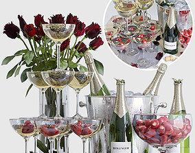 Champagne decorative set 3D