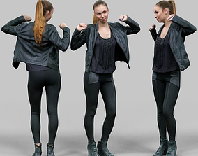 Girl in shiny black outfit dancing 3D model