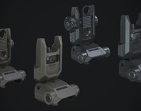 3D asset Defiance Low Profile Picatinny Flip Up Sights