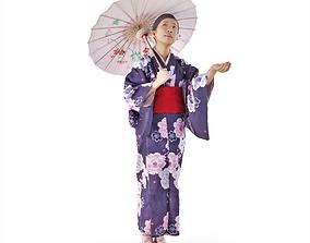 Japanese Girl Umbrella 3D asset