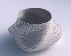 Bowl twisted elipse with grid plates 3D print model