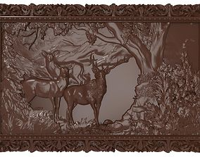 3D printable model Deers on lawn Bas relief for CNC