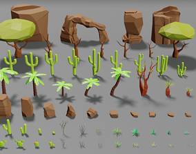 Desert pack lowpoly trees palms cactus rock 3D asset