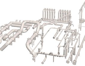 3D model Industrial White Pipes Low Poly