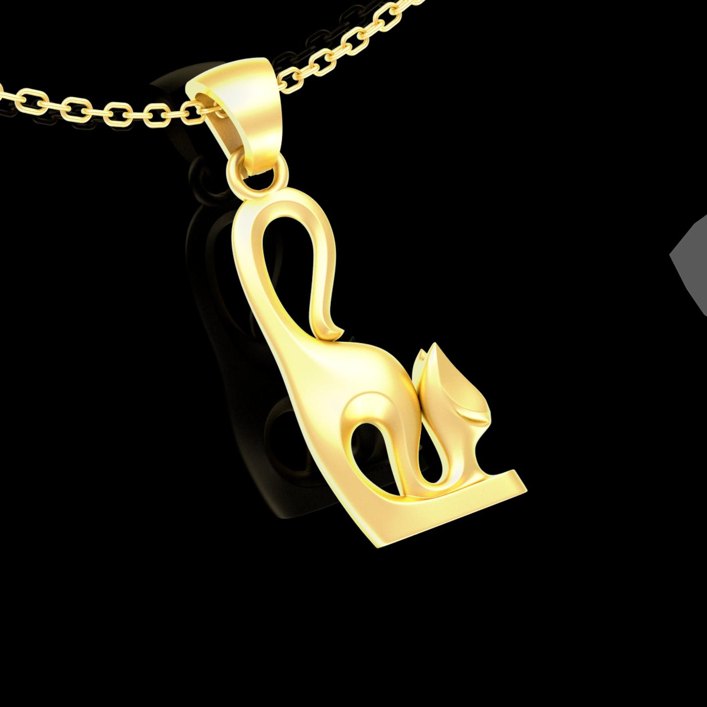 Yawning CAT sculpture Pendant jewelry Gold 3D print model