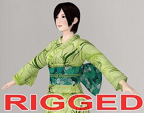 rigged T pose rigged model of Rina in kimono
