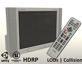 2000s CRT TV and Remote Control - Gray 3D model
