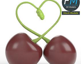 3D model Cherries forming a heart