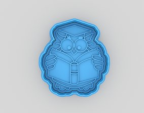 3D print model Owl with a book cookie cutter