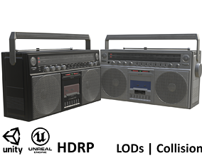 Game-ready Retro Boombox - 2 versions 3D