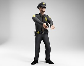 3D asset polieman gun in hand ready to shoot low poly 2
