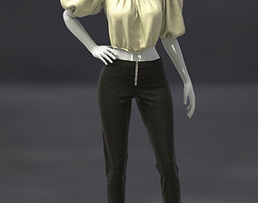 3D Female Top with puff sleeves and pants