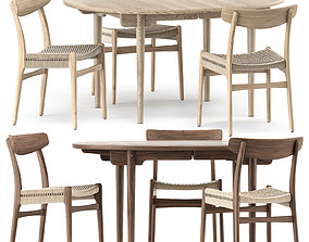 CH337 DINING TABLE and CH23 CHAIR by Carl 3D model 2