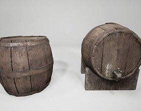 3D asset 30- Wine Barrel old Medieval 2pack quality UE4