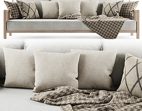 3D Three-seater garden sofa with plaid