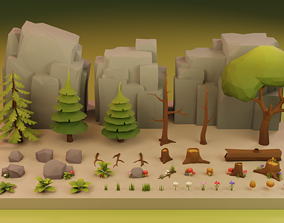 3D model Low Poly Cartoon Trees Grass Plants and Rocks