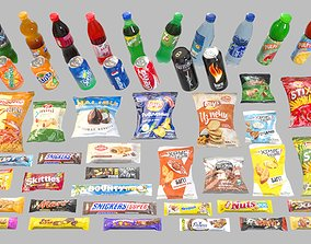Set of drinks and snacks and chocolate bars 3D asset