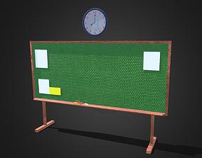 3D model Blackboard and animated wall clock