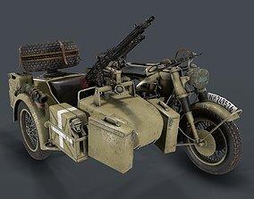 PBR German motorcycle with sidecar WW2 3d model