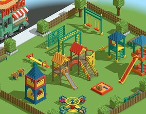 3D model Voxel Kids Playground Games