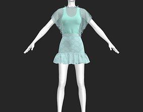 Frilly dress 3D asset