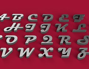 MAGNETO font uppercase and lowercase 3D letters STL file
