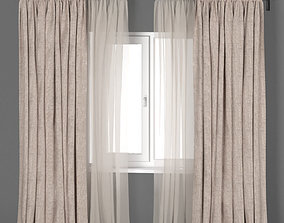 3D Beige linen curtains with beige tulle