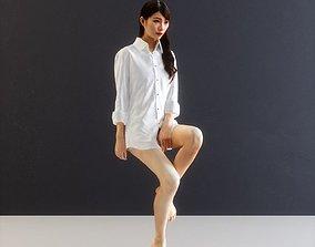 Girl wearing boyfriend shirt 3D print model scans-replicas