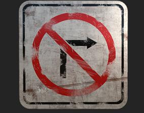 Old Traffic Sign 3D asset