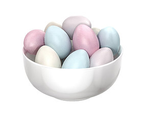 White Bowl with Easter Eggs 3D