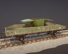 3D asset Armored Train SPU-BP railway anti-aircraft 1