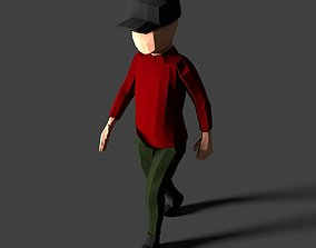 3D model Low Poly Boy in Red Shirt Character