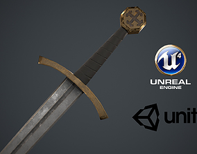 3D asset low-poly Low Poly Medieval Sword