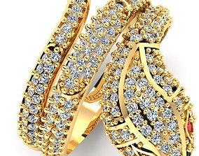 3D printable model snake ring rings