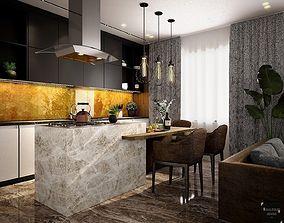 Cocina y comedor integrado 3D