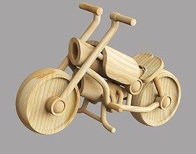Wooden toy motorbike transport 3D