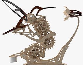 Colibri Wooden Sculpture 3D model