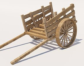 3D model realtime retro Wooden Cart