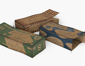 US K-Ration boxes End War WWII - Dirty version 3D model
