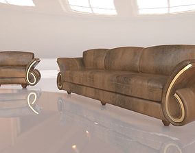 3D MODERN COUCH AND LOVESEAT UNWRAPPED LIVINGROOM SET