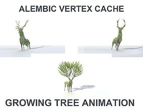 growth 3D model Growing Tree in a shape of a deer