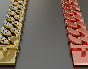 Cuban Bracelet With Diamonds and Rose Gold 3D model