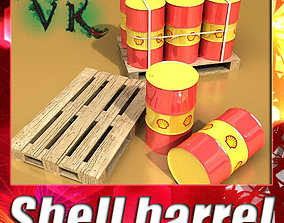 3D Shell Oil Metal Drums and Pallet