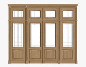 3D model Door classic with glass quad 02