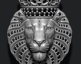 Lion pendant with diamonds and 3D print model 1