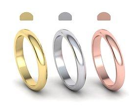 Dshaped wedding band 3mm wide 3D printable model