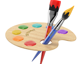 sports Wooden Artist Palette 3D model